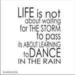 Life is not about waiting for the storm to pass it's about learning to dance in the rain (without tree) SIZE- 17