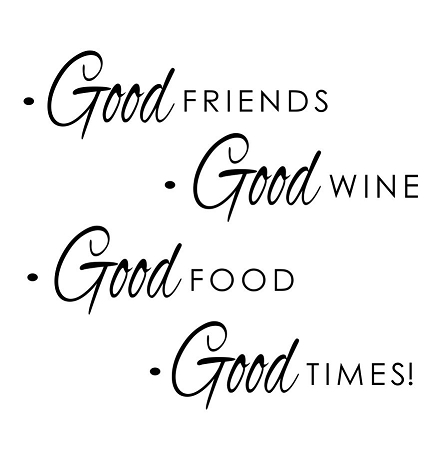 Good Food Good Wine Wall Quote Vinyl Decal Art Sticker