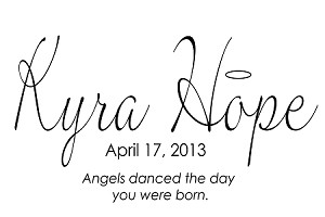 "CUSTOM MONOGRAMS - ANGELS DANCED THE DAY YOU WERE BORN-17"" x 22"""
