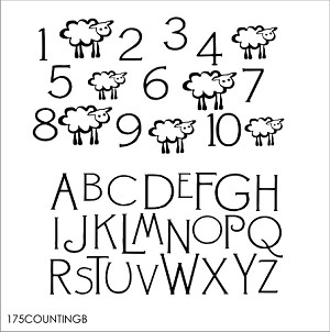 "Counting Sheep and ABC's -SIZE-11.25"" x 17"" -TWO PIECES"