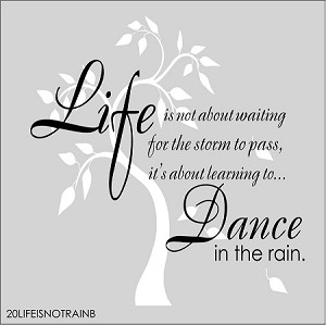 "Life is not about waiting for the storm to pass, its about learning to dance in the rain (with tree) SIZE-11"" x 17 """