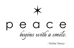 "PEACE BEGINS WITH A SMILE - 3.75"" x 45"""