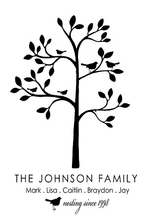 "Custom Family TREE Monogram - 17"" x 22"""
